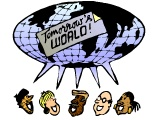 Mixed-race Group Saying Together `Tomorrow`s World`, with a Globe